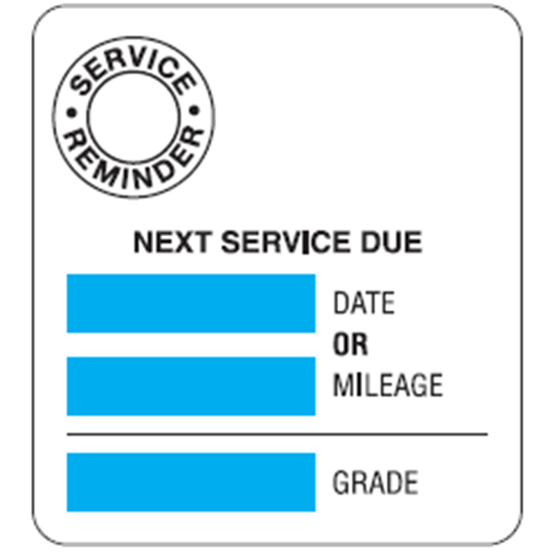 Stock Service Reminder<br />Labels