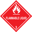 Class 3<br />FLAMMABLE LIQUID<br />Worded Label<br />500/roll