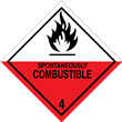 Class 4<br />SPONTANEOUSLY COMBUSTIBLE<br />Worded Label<br />Paper, 500/roll