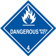 Class 4<br />DANGEROUS WHEN WET<br />Worded Label<br />Paper, 500/roll