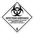 Class 6<br />INFECTIOUS SUBSTANCE<br />Worded Label<br />500/roll