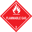 Class 2<br />FLAMMABLE GAS<br />Worded Label<br />PVC-free Poly, 500/roll