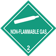 Class 2<br />NON-FLAMMABLE GAS<br />Worded Label<br />PVC-free Poly, 500/roll