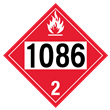UN 1086 Class 2<br />FLAMMABLE GAS<br />4-Digit Placard<br />Laminated Tagboard, 50/Pack