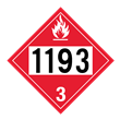 UN 1193 Class 3<br />FLAMMABLE LIQUID<br />4-Digit Placard<br />Laminated Tagboard, 50/Pack