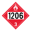 UN 1206 Class 3<br />FLAMMABLE LIQUID<br />4-Digit Placard<br />Laminated Tagboard, 50/Pack