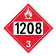 UN 1208 Class 3<br />FLAMMABLE LIQUID<br />4-Digit Placard<br />Laminated Tagboard, 50/Pack