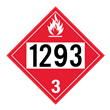 UN 1293 Class 3<br />FLAMMABLE LIQUID<br />4-Digit Placard<br />Laminated Tagboard, 50/Pack
