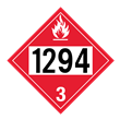 UN 1294 Class 3<br />FLAMMABLE LIQUID<br />4-Digit Placard<br />Laminated Tagboard, 50/Pack