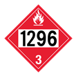 UN 1296 Class 3<br />FLAMMABLE LIQUID<br />4-Digit Placard