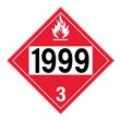 UN 1999 Class 3<br />FLAMMABLE LIQUID<br />4-Digit Placard<br />Laminated Tagboard, 50/Pack