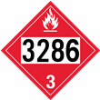 UN 3286 Class 3<br />FLAMMABLE LIQUID<br />4-Digit Placard
