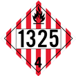 UN 1325 Class 4<br />FLAMMABLE SOLID<br />4-Digit Placard<br />Removable Vinyl, 50/Pack