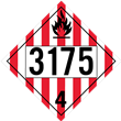 UN 3175 CLASS 4<br />FLAMMABLE SOLID<br />4-Digit Placard<br />Removable Vinyl, 50/Pack