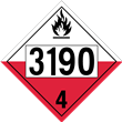 UN 3190 Class 4<br />SPONTANEOUSLY COMBUSTIBLE<br />4-Digit Placard<br />Removable Vinyl, 50/Pack