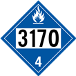 UN 3170 Class 4<br />DANGEROUS WHEN WET<br />4-Digit Placard<br />Laminated Tagboard, 50/Pack