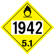 UN 1942 Class 5<br />OXIDIZER<br />4-Digit Placard<br />Laminated Tagboard, 50/Pack