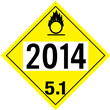 UN 2014, Class 5<br />OXIDIZER<br />4-Digit Placard<br />Laminated Tagboard, 50/Pack