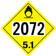 UN 2072 Class 5<br />OXIDIZER<br />4-Digit Placard<br />Laminated Tagboard, 50/Pack