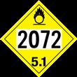 UN 2072 Class 5<br />OXIDIZER<br />4-Digit Placard<br />Removable Vinyl, 50/Pack