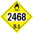 UN 2468 Class 5<br />OXIDIZER<br />4-Digit Placard<br />Laminated Tagboard, 50/Pack