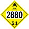 UN 2880 Class 5<br />OXIDIZER<br />4-Digit Placard<br />Laminated Tagboard, 50/Pack