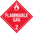 Class 2<br />FLAMMABLE GAS<br />Worded Placard<br />Laminated Tagboard, 50/Pack