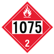 UN 1075 Class 2<br />FLAMMABLE GAS<br />4-Digit Placard<br />Laminated Tagboard, 50/Pack