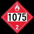UN 1075 Class 2<br />FLAMMABLE GAS<br />4-Digit Placard<br />Removable Vinyl, 50/Pack