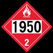 UN 1950 Class 2<br />FLAMMABLE GAS<br />4-Digit Placard<br />Removable Vinyl, 50/Pack