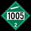 UN 1005 Class 2<br />NON-FLAMMABLE GAS<br />4-Digit Placard<br />Removable Vinyl, 50/Pack