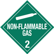 Class 2<br />NON-FLAMMABLE GAS<br />Worded Placard<br />Laminated Tagboard, 50/Pack