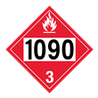 UN 1090 Class 3<br />FLAMMABLE LIQUID<br />4-Digit Placard<br />Laminated Tagboard, 50/Pack