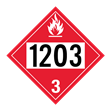 UN 1203 Class 3<br />FLAMMABLE LIQUID<br />4-Digit Placard<br />Laminated Tagboard, 50/Pack