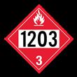 UN 1203 Class 3<br />FLAMMABLE LIQUID<br />4-Digit Placard<br />Removable Vinyl, 50/Pack