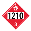 UN 1210 Class 3<br />FLAMMABLE LIQUID<br />4-Digit Placard<br />Laminated Tagboard, 50/Pack