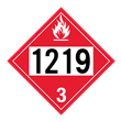 UN 1219 Class 3<br />FLAMMABLE LIQUID<br />4-Digit Placard<br />Laminated Tagboard, 50/Pack