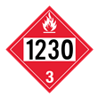 UN 1230 Class 3<br />FLAMMABLE LIQUID<br />4-Digit Placard<br />Laminated Tagboard, 50/Pack