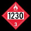 UN 1230 Class 3<br />FLAMMABLE LIQUID<br />4-Digit Placard<br />Removable Vinyl, 50/Pack