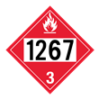 UN 1267 Class 3<br />FLAMMABLE LIQUID<br />4-Digit Placard<br />Laminated Tagboard, 50/Pack