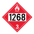 UN 1268 Class 3<br />FLAMMABLE LIQUID<br />4-Digit Placard<br />Laminated Tagboard, 50/Pack