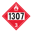 UN 1307 Class 3<br />FLAMMABLE LIQUID<br />4-Digit Placard<br />Laminated Tagboard, 50/Pack