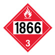 UN 1866 Class 3<br />FLAMMABLE LIQUID<br />4-Digit Placard<br />Laminated Tagboard, 50/Pack