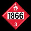 UN 1866 Class 3<br />FLAMMABLE LIQUID<br />4-Digit Placard<br />Removabel Vinyl, 50/Pack