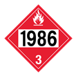 UN 1986 Class 3<br />FLAMMABLE LIQUID<br />4-Digit Placard<br />Laminated Tagboard, 50/Pack