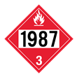 UN 1987 Class 3<br />FLAMMABLE LIQUID<br />4-Digit Placard<br />Laminated Tagboard, 50/Pack