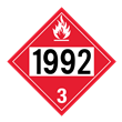 UN 1992 Class 3<br />FLAMMABLE LIQUID<br />4-Digit Placard<br />Laminated Tagboard, 50/Pack