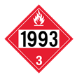 UN 1993 Class 3<br />FLAMMABLE LIQUID<br />4-Digit Placard<br />Laminated Tagboard, 50/Pack