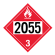 UN 2055 Class 3<br />FLAMMABLE LIQUID<br />4-Digit Placard<br />Laminated Tagboard, 50/Pack