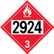 UN 2924 Class 3<br />FLAMMABLE LIQUID<br />4-Digit Placard<br />Laminated Tagboard, 50/Pack